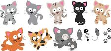 Kittens colour vinyl wall stickers removeable decal decor cat home nursery deco