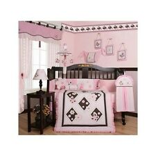 Crib Bedding Set Baby Girl 13Pc Pink Butterfly Nursery Flowers Diaper Stacker
