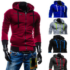 Stylish Men Slim Fit Sweater Casual Zip Hooded Fleece Jacket Coat Hoodie Warm