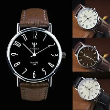Fashion Stainless Steel Leather Men's Military Casual Analog Quartz Wrist Watch