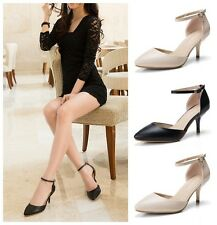 Women's Kitten Heels Ankle Strap Buckle Pointed-toe Leather Pumps OL Work Shoes