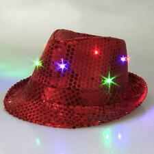 LED Light Up Fedora Hat Flashing Sequin Fancy Dress Party Accessories Fun