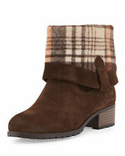 CHARLES DAVID JUNE FLANNEL CUFF BROWN SUEDE MID CALF REVERSEBLE ANKLE BOOTIE H46