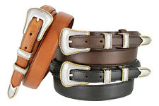 NEW Silver and Gold Buckle Set Genuine Leather Western Ranger Belt, Sizes 32-50!