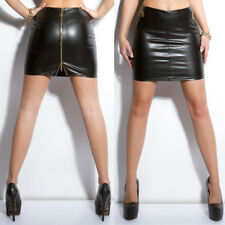 Sexy Faux Leather Look Mini Skirt Wet Look PVC With Full Back Zip - Black