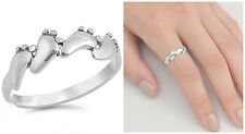 Sterling Silver 925 FOUR BABY FEET BAND DESIGN SILVER RING 6MM SIZES 3-10