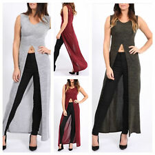 NEW WOMENS LADIES MARL KNITTED SLIT FRONT SPLIT MAXI LONG TUNIC DRESS CASUAL TOP