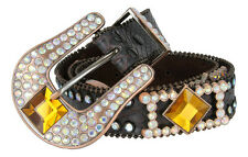 "Ladies Western Rhinestone Bling Western Belts, 1-1/2"" Wide, Many Colors!"