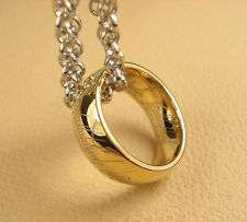 New Nice LOTR Tungsten Carbide 18K GP Band Ring Pendant Width 8mm With Chain