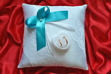 Wedding ring cushion / pillow with lace and rings holder box 86 colors
