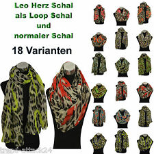 Leopard heart scarf Loop Leopard heart Scarf Loop Scarf Cowl Neon