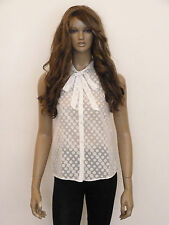 New womens white sheer polka dot design pussy bow sleeveless blouse top uk 8-14