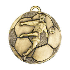 50mm Football Medals, Gold, Silver & Bronze - free ribbon