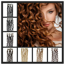 "20"" Micro Ring Loop Beads Tipped Remy Real Human Hair Extensions Curly 100S"