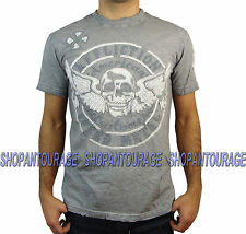 AFFLICTION Metal Relic A12070 Men`s New White Oil Stain T-shirt