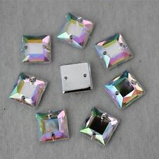 200PCS 10mm Square Acrylic Flat Back Crystal Bead Rhinestones Sewn on 2 Hole ZZ6