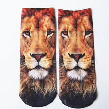 1 Pair Fashion Men Women Casual Low Cut Ankle Socks Cotton 3D Printed Animals b