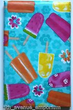 ASST SIZES Vinyl Tablecloth POPSICLES Ice Cream Summer POOL PARTY Birthday BBQ