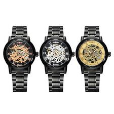 Mens Women Fashion Leather Wrist Watch Hollow Skeleton Mechanical Watches D6YK