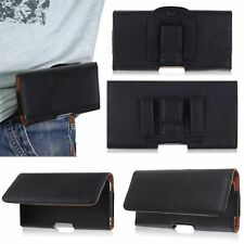 Horizontal Leather Case Cover Pouch Holster w/ Belt Clip for Various Cell Phones