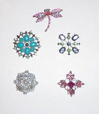 CHOICE OF RHINESTONE ACCENTED PINS IN BLUE, PINK, PURPLE, SILVERTONE, DRAGONFLY