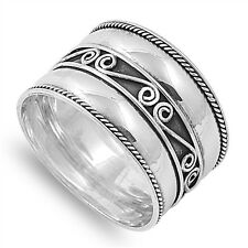 .925 Sterling Silver 15MM LADIES MENS BALI ROPE DESIGN BAND RING SIZES 4-12