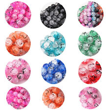 Lots 15/50/100Pcs Round Glass Crackle Drawbench Loose Spacer Beads DIY 6/8/10mm