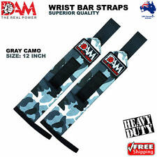 DAM GREY CAMO WEIGHT LIFTING GYM TRAINING WRIST SUPPORT BAR STRAPS WRAPS