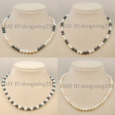 s024 hot sell AA 7-8mm 8-9mm white pink black fresh water akoya pearl necklace