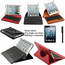 Leather Case with detachable Bluetooth Keyboard Cover for Apple iPad MINI 3 2 1