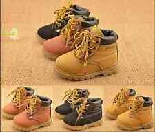 Winter Warm Kids Boy Girl Toddler Velvet Leather Martin Snow Boots Lined Shoes