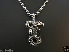 Stainless Steel Set Chain pendant Snake Serpent with Stainless steel chain Biker