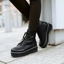 Z Fashion Womens Girls Lace Up Ankle Boots Flat Platform Punk Goth Creeper Shoes
