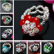 Womens Jewelry Crystal Glass Beads 2-Layer Flower Cocktail Finger Ring Gift US 7