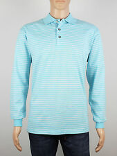 NEW Firethorn Golf Size S M L XL mens light blue stripe long sleeve polo shirt