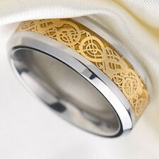 High Quality Men Dragon Scale Ring Jewelry Wedding Band 18K Gold 8 9 10 11 12