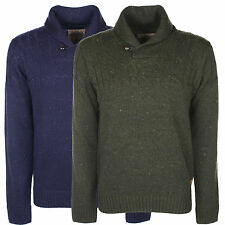 MEN'S SHAWL NECK CABLE KNIT FLECK JUMPER - COLOURS AVAILABLE NAVY & GREEN