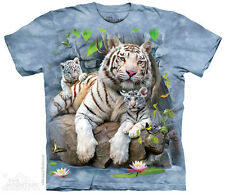 White Tigers Of Bengal T-Shirt by The Mountain. Bengal Tiger & Cub Size NEW