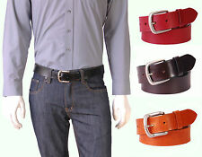 Mens Leather Belt AT9 Black-Brown-Burgundy-Tan Jeans Trouser Real Cow Hide 3.5cm