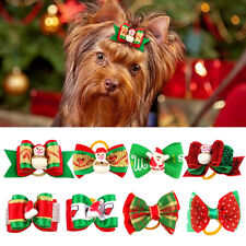 20pcs Christmas Pet Dog Cat Hair Bows with Rubber Bands Hair Grooming Accessorie