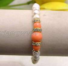 """SALE white 6-7mm Natural Pearl and Round natural pink Coral 7.5"""" bracelet-bra291"""