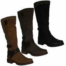 SPOT ON LADIES STRAPPY ZIP UP MID HEEL KNITTED COLLAR KNEE HIGH BOOTS F50329