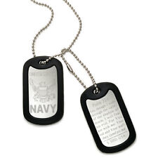 Made in USA Stainless Steel Dog Tag Necklace with U.S. Navy Logo Design