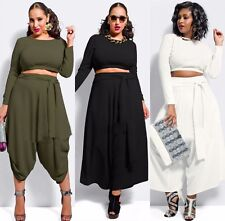 2015 Plus Size Sexy Womens Two Pieces Party Bodycon Chiffon Jumpsuit Dress Pants