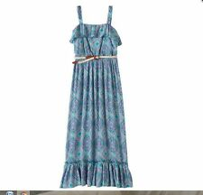 Girls Lily Rose Turquoise Coral Tribal Print Maxi Dress Belt SZ 7 8 10 12 14 16