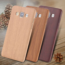 Retro Wood Grain Ultra Slim Leather Back Case Cover Soft Skin For Samsung iPhone