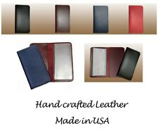 100% Genuine Cowhide Leather Checkbook Cover Wallet for Duplicate Checks