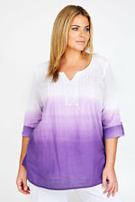 SGTL-  Plus White And Purple Dip Dye Cotton Blouse With Sequin Detail  16-32