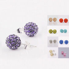 Fashion 925 Sterling Silver Disco Inlay Crystal Ball Stud Earrings Jewelry H200