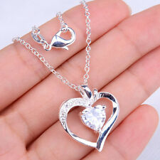 Lovely Heart 925 Sterling Silver Crystal Shaped Pendant + Necklace Jewelry H690
